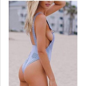 Blue and white stripped overall swimsuit